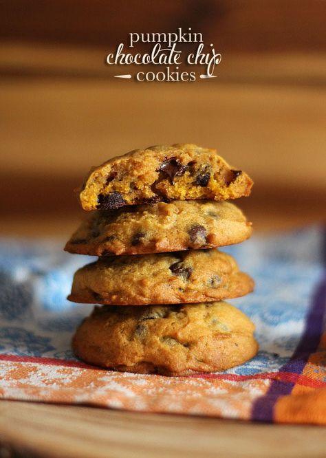 Pumpkin Chocolate Chip Cookies   www.cookiesandcups.com