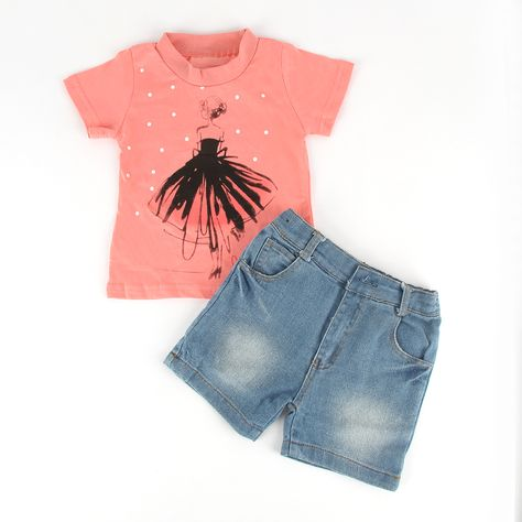 2Pcs Toddler Kids Baby Girls Clothes Tops Dress+Jeans Pants Shorts Outfits Set