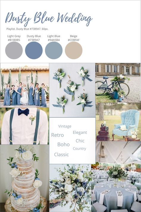 Vintage inspired dusty blue wedding