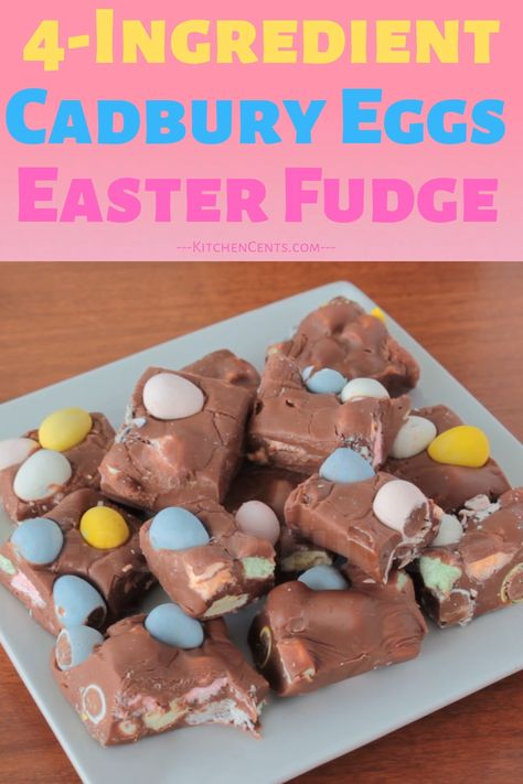 Looking for a super easy chocolate treat or Easter treat? fun and festive treat everyone will love.  Its rich chocolate-y fudge is filled with soft marshmallows and candy-coated mini chocolate eggs.  It's a scrumptious way to welcome Spring and only takes 4 ingredients and 5 minutes to make.