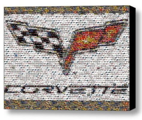 Framed Chevy Corvette logo Mosaic 9X11 inch Limited Edition Art Print w/COA