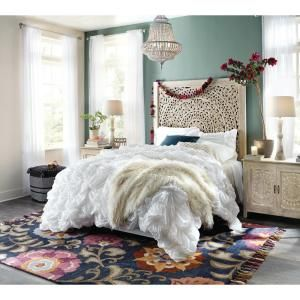 Home Decorators Collection Chennai White Wash Queen Platform Bed 9467800410 The Home Depot Queen Platform Bed Black Twin Bed Frame Decor