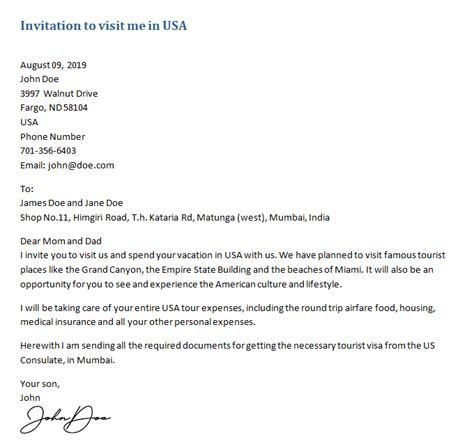 invitation letter for visiting family
