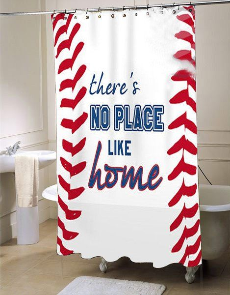 Baseball Shower Curtain Sports Bathroom Decor Fabric Shower