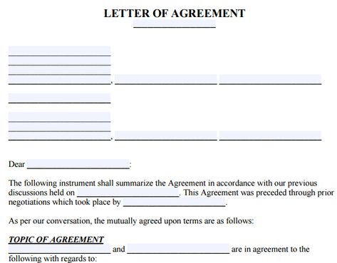 Agreement Letter Between Two Parties Agreement Letter