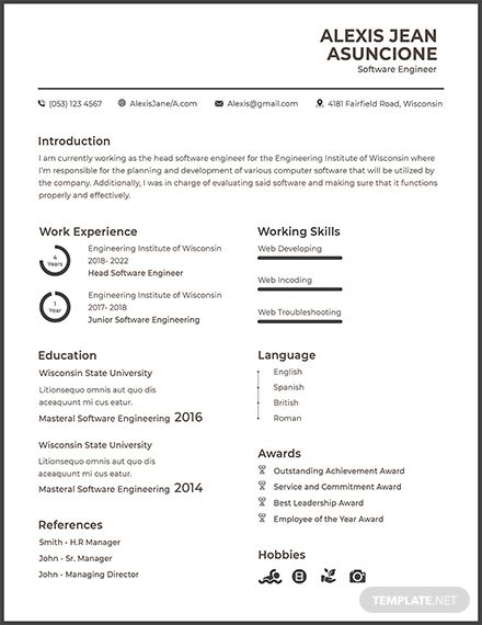 Free Resume For Software Engineer Fresher Template Software Engineer Cv Template Resume Templates