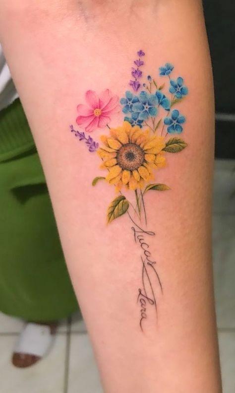 Aster Tattoo, Aster Flower Tattoos, Larkspur Tattoo, Flower Bouquet Tattoo, Birth Flower Tattoos, Flower Tattoo On Side, Small Flower Tattoos, Small Tattoos, Lilies Tattoo