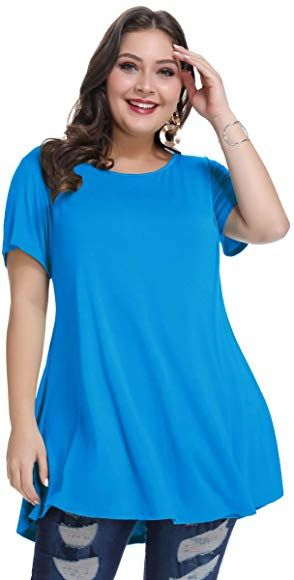 MONNURO Womens Short Sleeve Flare Swing Tunic Tops Plus Size Casual Loose Fit Shirts Blouses L-5X