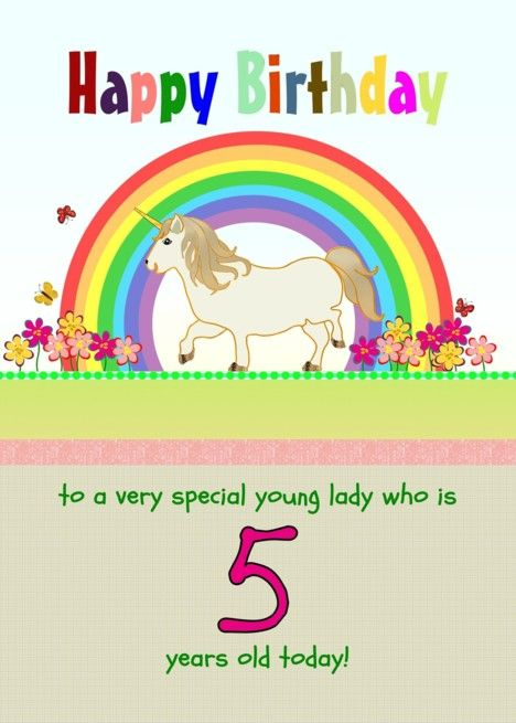 5th Birthday Unicorn And Rainbow For Little Girl Card 5th