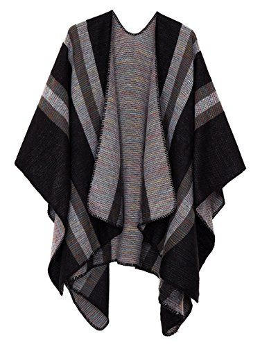 2b865f374 Urban CoCo Women's Color Block Shawl Wrap Open Front Poncho Cape (black),  One Size at Amazon Women's Clothing store:
