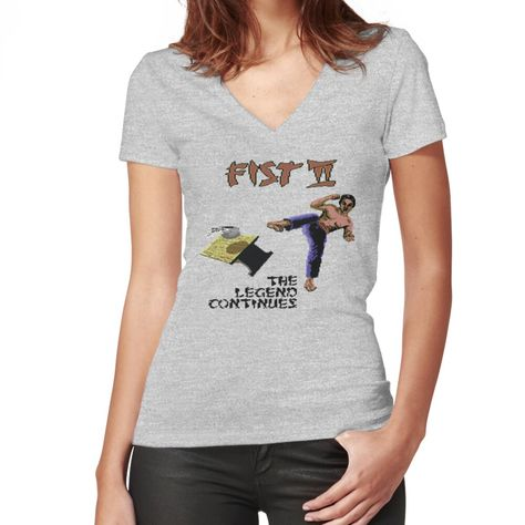 Flattering slim fit soft jersey t-shirt with v-neck. Solid colors are 100% cotton, heather colors are cotton blend. Range of colors available, with the option to print on front or back. Size range S-2XL. The classic screen parody for the Commodore 64 Game - Fist II: The Legend Continues