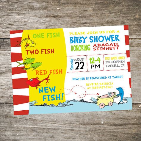 Dr. Seuss Baby Shower Invitation One Fish by SabraTurnerDesigns