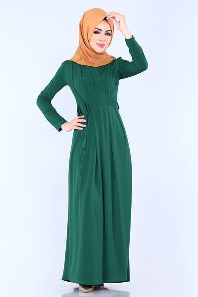 Modaselvim Elbise Kruvaze Detay Elbise Ukb1061 Zumrut Dresses Fashion High Neck Dress