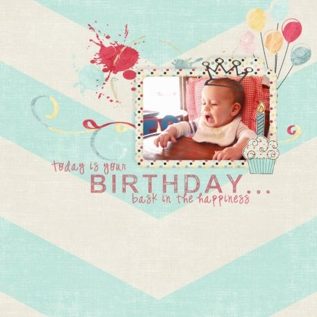 Birthday Cake layout using Birthday Wishes Bundle at www.pixelscrapper.com