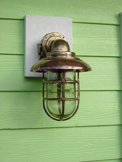 Copper Hooded Nautical Bronze Landscape Pathway Dock Light ship nautical lights
