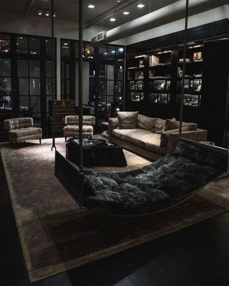 Black living room - 50 Awesome Living Room Decorating Ideas For Your Home Classy Living Room, Dark Living Rooms, Black And White Living Room, Home Living Room, Interior Design Living Room, Living Room Designs, Black Interior Design, Luxury Living Rooms, Luxury Bedroom Design
