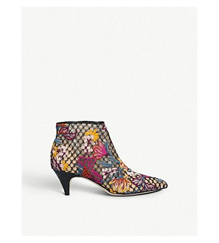 e0c16a77398 SAM EDELMAN Kinzey embroidered-lace ankle boots   boogie shoes ...
