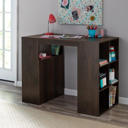Mainstays 12 Cube Standing Craft Table And Storage Desk Dark Chestnut Walmart Com Craft Table Desk Storage Cube Storage