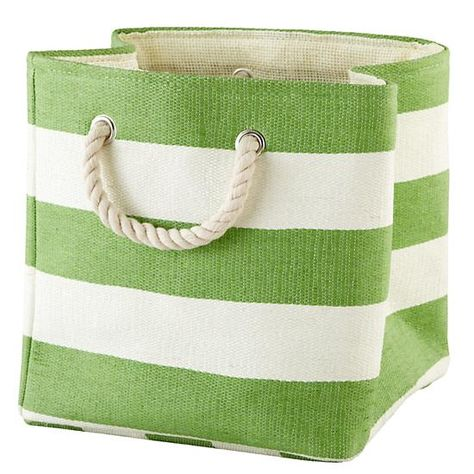 Stripes Around the Cube Bin (Green) in Tabletop Storage | The Land of Nod