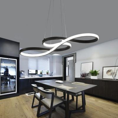 Double Sided Led Twist Led Chandelier 32 50w Black Acrylic Curved Led Pendant Lighting In Small Ceiling Lights Living Room Living Room Lighting Led Chandelier Black dining room lighting small