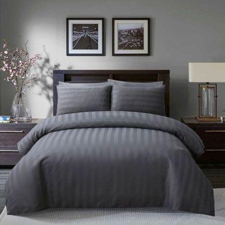 Satin Stripe Grey Hotel Quality Luxury Duvet Set Buy Online In South Africa Takealot Com Luxury Duvet Sets Striped Duvet Covers Striped Duvet
