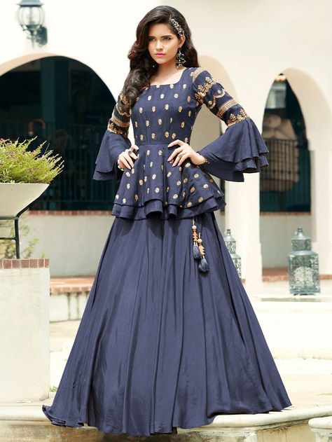 Online shopping for indian lehenga choli in different designs, styles, colors and fabrics. Order this silk blue trendy a line lehenga choli.