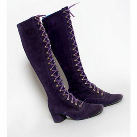 Vintage Mod 60's 1960'S Purple Suede Go Go Boots Lace up