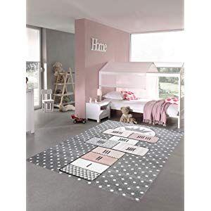 Merinos Kinderteppich Hüpfspiel Teppich Hüpfkästchen In Grau Rosa Creme Größe 140x200 Cm Baby Teppich Teppich Kinderzimmer Spielteppich