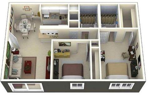 denah rumah minimalis 2 kamar tidur 3d terbaru (dengan