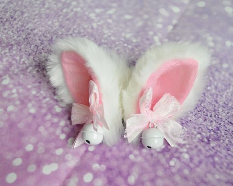 Made to order Kitten play clip on cat ears with bell - neko lolita cosplay costume - hairclip kitten play gear accessories - white & pink Pastel Goth Fashion, Kawaii Fashion, Lolita Fashion, Kitten Play Gear, Lolita Cosplay, Custom Bows, Kawaii Accessories, Cat Ears, Neko Ears