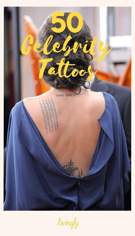 Did you realize that some of your favorite stars have a tattoo or two — or more? Celebrities like Miley Cyrus and Angelina Jolie have many tattoos, ranging from small designs to sleeves or full backs.   Some stars choose tattoos dedicated to their spouses or children, while others opt for personally meaningful designs or more artistic selections.  Click through to see 50 of our favorite celebrity tattoos.