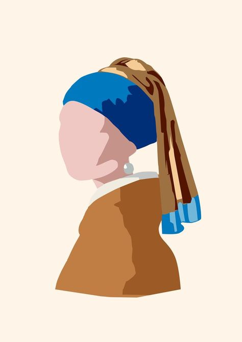 Minimalist Art Illustration - Girl With a Pearl Earring printable wall art - Digital Download