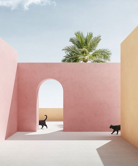 massimo colonna renders perfectly surreal open-air architecture in latest digital series Collage Architecture, Colour Architecture, Minimal Architecture, Rendering Architecture, Architecture Diagrams, Architecture Portfolio, Architecture Illustrations, Creative Architecture, Minimal Photography