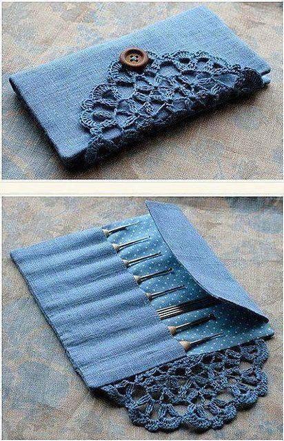 This would be very cute using old jeans or vintage fabric. Handwerk ualp , This would be very cute using old jeans or vintage fabric. This would be very cute using old jeans or vintage fabric. Crochet Hook Case, Crochet Hooks, Knit Crochet, Crochet Trim, Crochet Gifts, Crochet Doilies, Blog Crochet, Crochet Pencil Case, Crochet Organizer