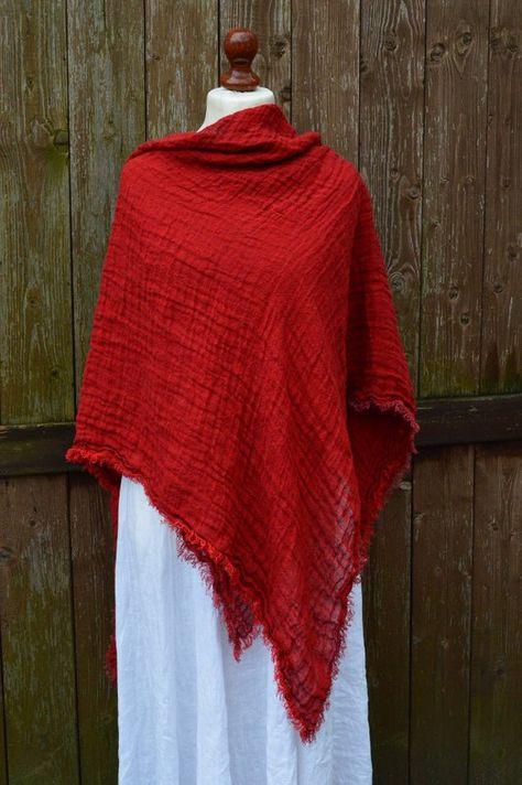 Red Scarf 100 Linen Women Scarf Washed Linen Linen Wrap Spring Scarf 100 Percent Linen Natural Linen European Li Linen Women Womens Scarves Red Scarves