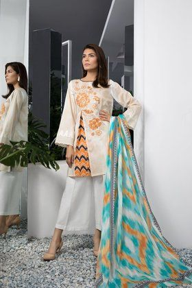 Sapphire 3 Piece Embroidered Uzbek Trend A Lawn Collection 2018 Custom Stitched Suit - Beige