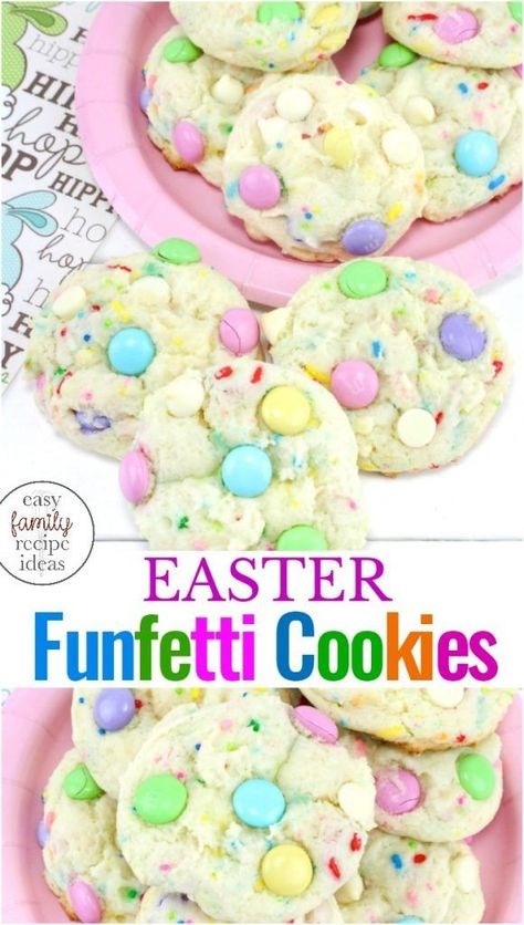 These Spring Funfetti Cake Cookies for Easter are soft and delicious, Funfetti cake mix recipes make the perfect Easter Cookies, Make these easy to make Easter MM Cookies for a spring brunch or fun spring treat, Easter Funfetti Cake Cookies are The Best! #eastercookies #easter #cookies
