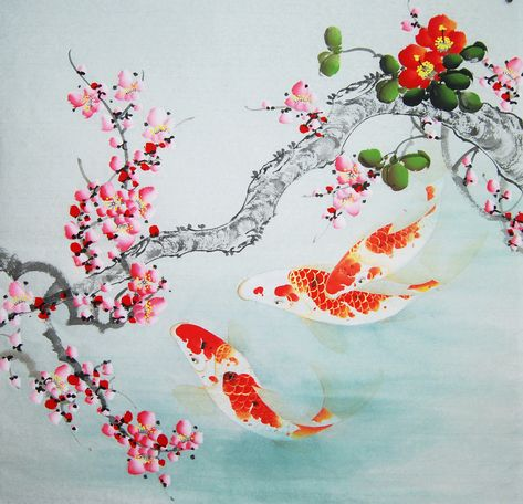 Excited to share this item from my #etsy shop: Peach flower, red carp,Chinese brush painting,bird and flower painting,100% Hand-painted, ink wash painting,original watercolour painting #art #painting #livingroom #lunarnewyear #housewarming