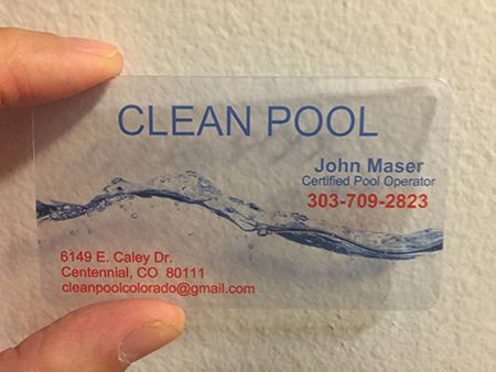 Pool Services Clear Plastic Card Plastic Business Cards Plastic Business Cards Design Plastic Card