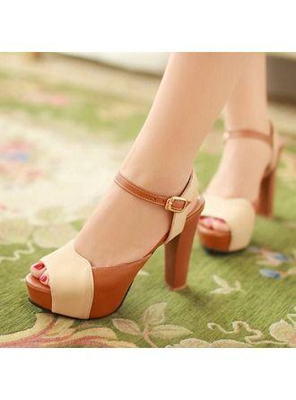 a8b6a013480 VERYVOGA Women's Leatherette Chunky Heel Sandals Pumps Peep Toe ...