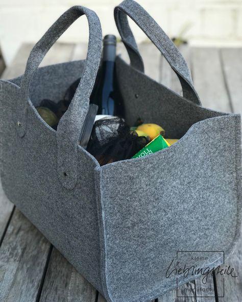 Einkaufstasche aus Filz in XXL mit Veggienetzen Obstnetz und