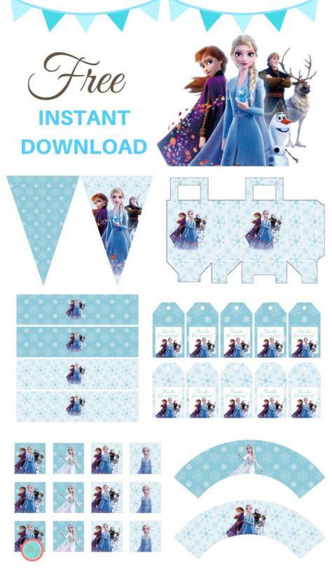 Frozen Birthday Banner, Elsa Birthday Party, 2nd Birthday Party Themes, Free Birthday, 5th Birthday, Birthday Ideas, Frozen Party Table, Frozen Party Favors, Frozen Themed Birthday Party