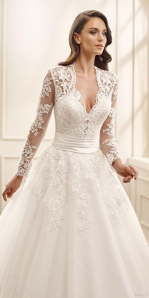 eddy k bridal 2016 illusion long sleeves sweetheart ball gown wedding dress (ek1072) zv traditional romantic