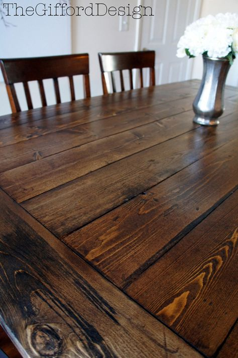DIY Farmhouse Table with a beautiful chestnut stain - Great Tutorial!
