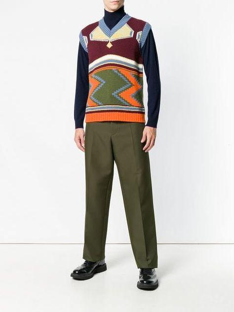 f9609a6dd Prada Intarsia V-neck Sweater Vest