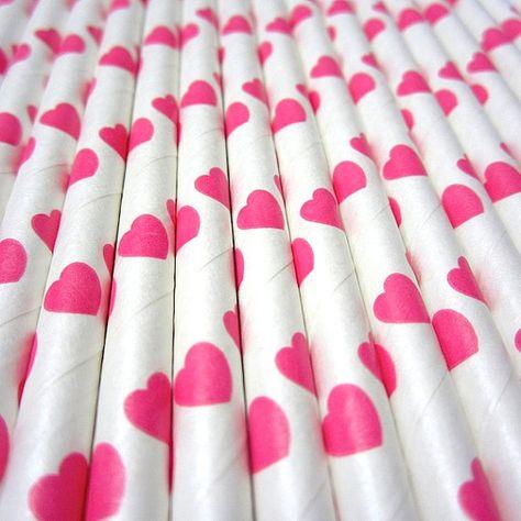 Pink Paper Heart Straws to share that Valentine Milkshake.