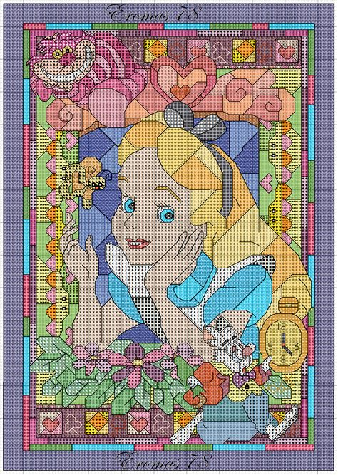 Alice In Wonderland Stained Glass Cross Stitch Pattern Here's the link to the chart http://www.magiedifilo.it/forum/blog.php?page=download&mode=download&id=339