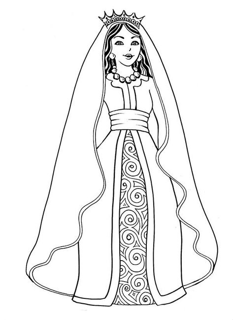 Beautiful Esther The Queen In Purim Coloring Page 1