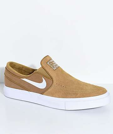 Nike SB Janoski Golden Beige & White Slip-On Skate Shoes | Nike sb ...