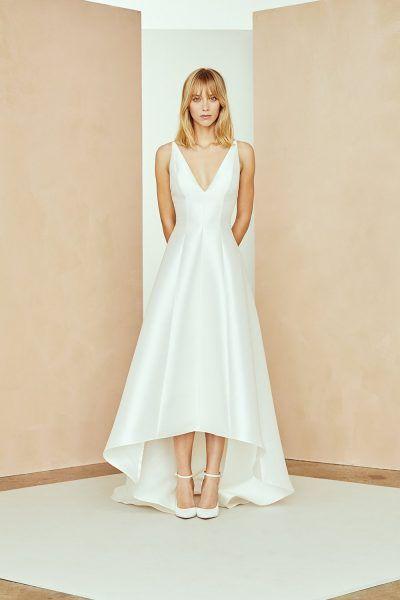 Silk Mikado Hi Low A Line Wedding Dress With V Neckline Hi Low